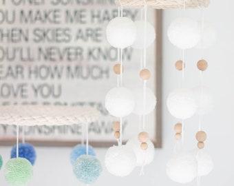 White Pom Pom Crib Mobile With Wood Beads. Nursery and Playroom Decor. Neutral Kids Room.