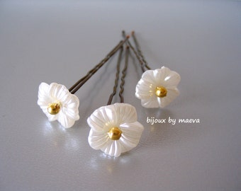 Wedding jewelry pearl ivory flowers for bridal hairstyle