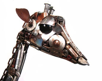Recycled Metal Art Sculpture Giraffe Assemblage - Edmund