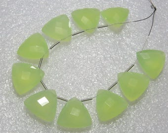 Chalcedony Prehnite Green Color Faceted - 5 Matching Pairs - Fancy Shape - size 14x14 mm