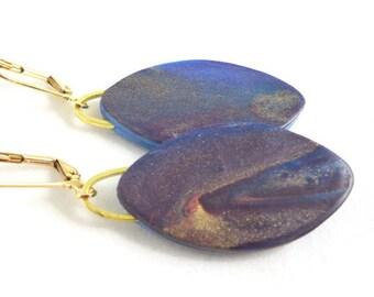 Night Sky Oval Dangle Earrings Lightweight Clay