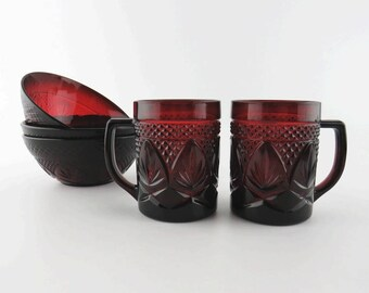 Antique Pattern Ruby Red Cristal D'Arques Durand Glassware 2 Mugs & 3 Bowls - Set of 5 - Cranberry Pressed Glass