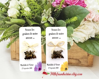 Cards seed packets of flower for wedding floral motif with customizable text and raffia bow