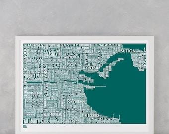Dublin, Dublin Type Map Screen Print, Dublin Font Map, Dublin Artwork, Dublin Screenprint, Dublin Word Map, Dublin Text Map, Dublin Art Gift