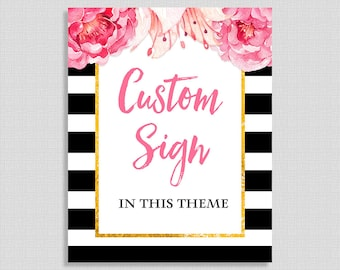 Custom Made Printable Sign, Black & White Stripe Peony Baby Shower Table Sign, Floral Party Decorations, Gender Neutral, DIY Printable
