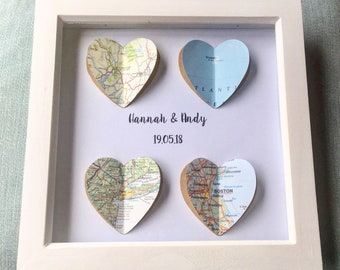 4 Map Heart Personalised Framed Picture- Wedding gift- Family- Home- Anniversary- Engagement