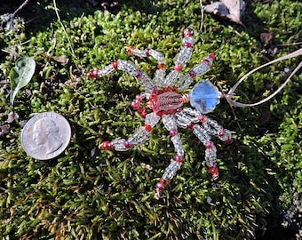 Ornament Suncatcher Wire Wrap Art Red Crystal Eyes Crystal Spider