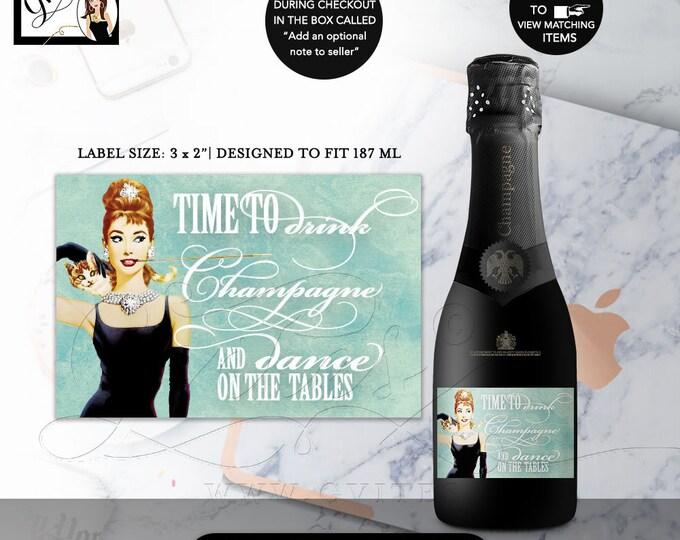 """MINI CHAMPAGNE labels, breakfast at decor, bachelorette party, Audrey Hepburn bottle label party CUSTOMIZABLE, favors, 3x2"""" 9/Per Sheet"""