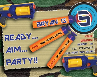 Camo Invitation Etsy - Party invitation template: nerf war party invitation template