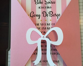 Parisian Baby Shower Invitation - Pink and Gold Party