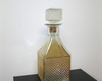 Vintage Amber Glass Iridescent Lustre Diamond Point Barware Decanter