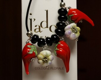 Lampwork necklace with hot red peppers and garlics, leather necklace, glass necklace, lampwork jewelry, artisan glass