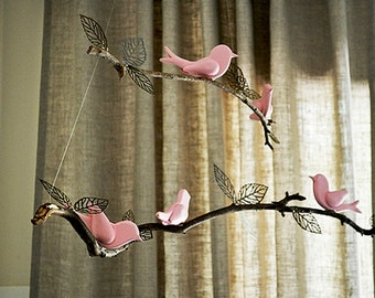 DIY Nursery Mobile - Hand Carved Birds - Do It Yourself MOBILES - Ready to Finish YOURWAY - 5 Different Songbirds