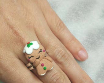 Gingerbread Man Ring - Handmade in Polymer Clay