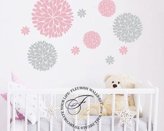 Baby Girl Nursery Wall Decal - Dahlia Flower Wall Decal - Flower Wall Stickers - Baby Nursery Wall Decor - Girls Bedroom Wall Decal DP015