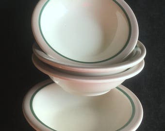 """Syracuse Diner Hotel Restaurant 4-5/8"""" """"Sudan"""" Fruit Bowls (Set of Four) Light Brown Band Green Stripe in Excellent Lightly Used Condition"""