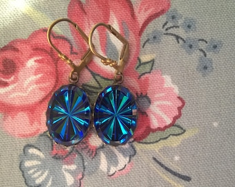 Vintage Glass Starlight Cobalt Cabachon And Brass Earrings