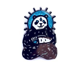 Spirit Panda festival glittery hat pin.