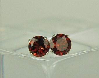 MothersDaySale Garnet Stud Earrings Sterling Silver 6mm Round 2ctw Natural Untreated