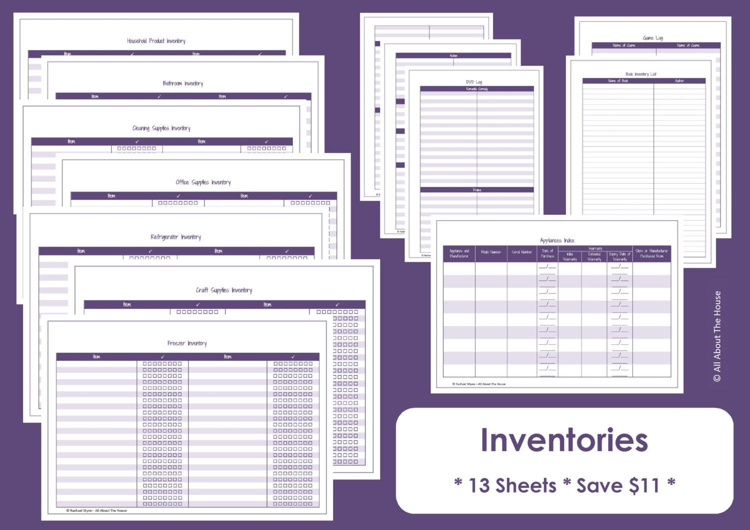 Home inventory printables home organisation household for Custom craft laminate sheets