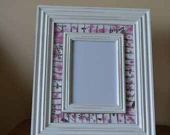 """Broken China Mosaic Picture Frame 5"""" x 7"""" Opening"""