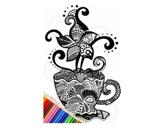 DIY Printable teacup adult coloring book page, color your own teacup, unique color designs for adults,