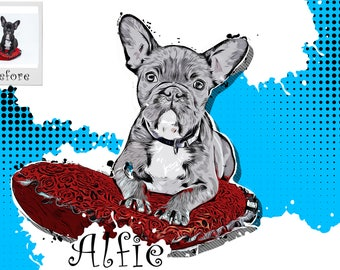 Pet Portrait, Animal Prints Pet Gift, Pug Print, Pug Gift, fathers day, Dog Portrait, Dog Painting, Animal Prints, Pet Loss Gift