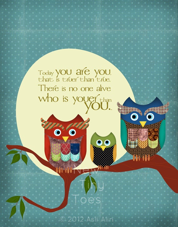 Owls Art Print Dr.Seuss quote Childrens Art Prints Nursery