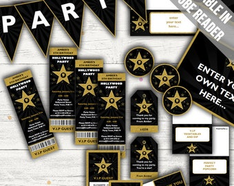 Hollywood Party Decorations, Invitations and Party Favor Tags. Editable. Printable Instant Download.