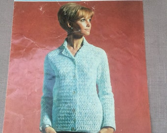 "Vintage Sirdar 5038 Crochet Womens Jacket Pattern Size 34-38"" Double Crepe Wool"
