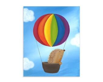 Hedgehog's Balloon Ride - Hot Air Balloon Whimsical Nursery Art