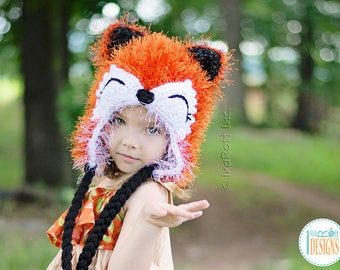 CROCHET PATTERN Moxie the Furry Fox Hat PDF Crochet Pattern with Instant Download