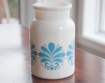 Belgium vintage milk glass jar, Milk Glass Lidded Apothecary Jar with Strawberry blue Designs