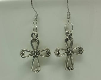 Tibetan Silver Cross Earrings with 925 Sterling Silver Wire Hooks