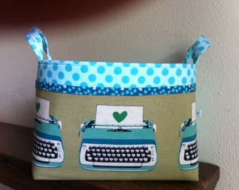 Fabric organizer bin basket -- Ruby Star Typewriter