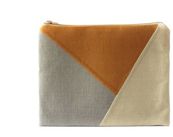 Handmade upcycling clutch in patchwork design/mustard, grey, natural/linen/single piece/accessory evening-/Partykleid/gift for you