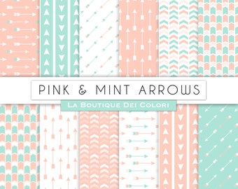 Pink and Mint Arrows digital paper Aztec Tribal patterns. Arrow Scrapbook Background. Instant Download for Personal and Commercial Use