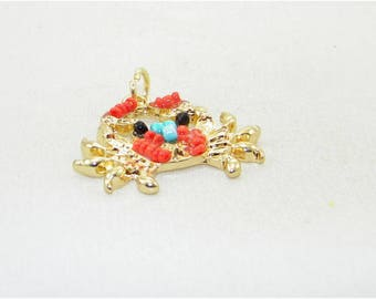 Gold plate crab with beads charm, Add on charms, Pendants, Charms, Zipper pulls, Key chain, Summer, Vacation, Holiday, Beach, Ocean, Gift