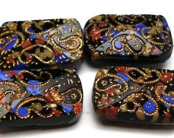 4 Antique GLASS buttons, Victorian slag glass with gold paisleys.