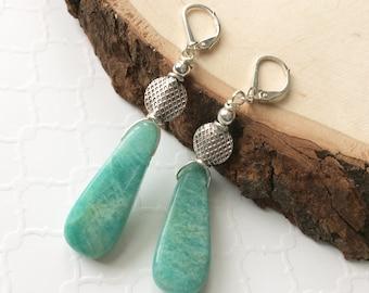 Long Amazonite Teardrop Earrings, Sterling Silver Russian Amazonite Lever Back Gemstone Earrings, Blue Green Fashion Earrings, Gift Idea