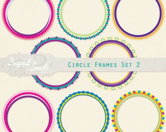 Circle Frames 2 - Digital Clipart for card making, scrapbooking, invitations, printed products, commercial use - Instant download