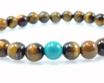Small Tiger's Eye with Turquoise Wrist Mala (6mm beads)