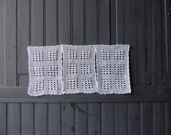 A set of 3 vintage French, hand made, crochet lace curtains, cafe curtains
