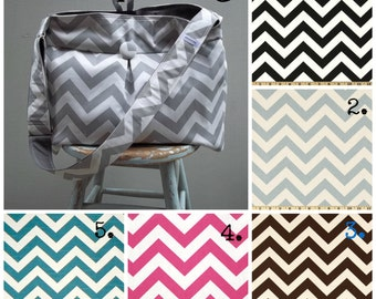 Custom Chevron Diaper Bag Extra Large - 6 Pockets - Key Fob - Adjustable Strap