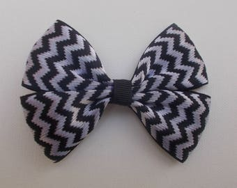 Black and Silver Chevron bow