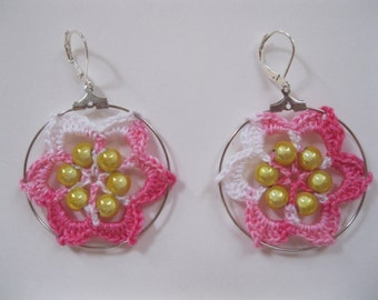 White and Pink Flower Crochet Earrings with Yellow Beads