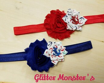 Red, White, and Blue Anchor Headband, Anchor Theme Wedding, Anchor Headband, Baby Headband, Infant Headband, Baby Girl Headband, Anchor Bow