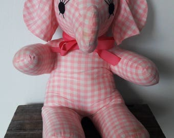 Vintage Handmade Pink Gingham Elephant