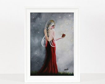 Scarlett - Fairy Art Prints - Miniature Prints - Home Decor Ideas - Wall Art - Red Art - Colorful Prints - Heart Pictures - Haute Couture