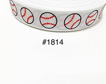 "3 or 5 yard - 7/8"" Sport Baseball Ball on White Grosgrain Ribbon Hair bow Craft Supply"
